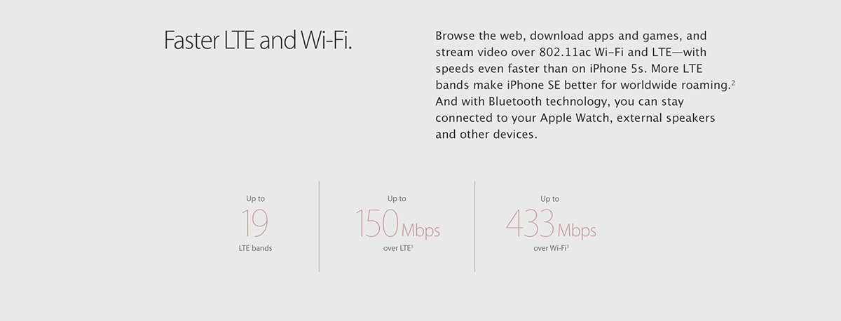 Faster LTE and Wi-Fi. 		Browse the web, download apps and games, and stream video over 802.11ac Wi-Fi and LTE - with speeds even faster than on iPhone 5s. And more LTE bands make iPhone SE better for worldwide roaming. iPhone SE also supports Voice over LTE and Wi-Fi calling for high-quality wideband calls.2 And with Bluetooth technology, you can stay connected to your Apple Watch, external speakers, and other devices. 		Up to 19 LTE bands 		Up to 150 Mbps over LTE3 		Up to 433 Mbps over Wi-Fi3